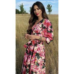 ZARA SS19 Floral Garden Rose Print Bow Belt Dress